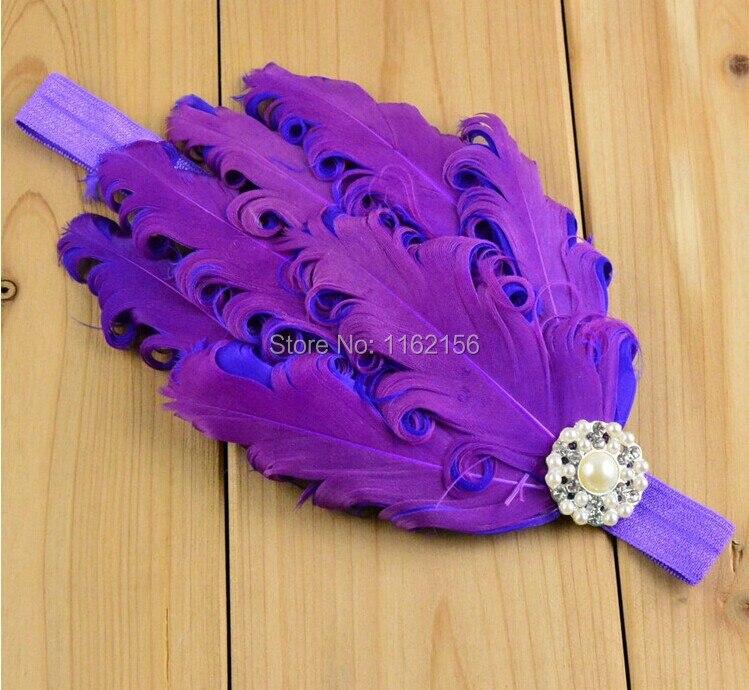 Новая красочная повязка на голову с перьями со стразами для девочек повязка для волос для фотосъемки xf006 15 шт./партия