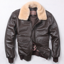 Mens Jacket Winter 100% Hot Genuine Leather Bomber Coat Fur Collar Parka Chic Airplane Style Luxury 3Colors Plus Size