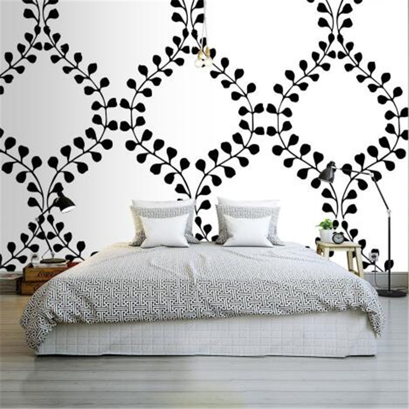 Custom Wallpapers Roll Modern Simple Wall Papers Home Decor Circle Leaves Wall Paper Black and White Living Room Wallpaper wallpaper for walls 3 d modern trdimensional geometry 4d tv background wall paper roll silver gray wallpapers for living room