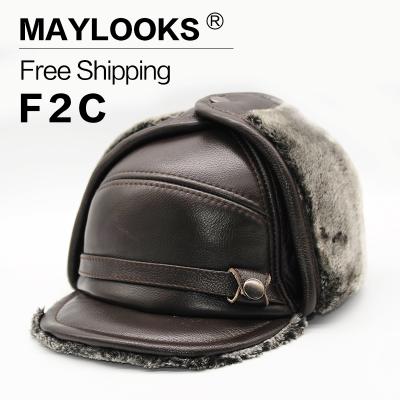 2018 Time-limited Maylooks New Style Bomber Cap Hat Men's Winter Brand Cow Skin Leather Warm Hats Caps With Fur Inside Cs37