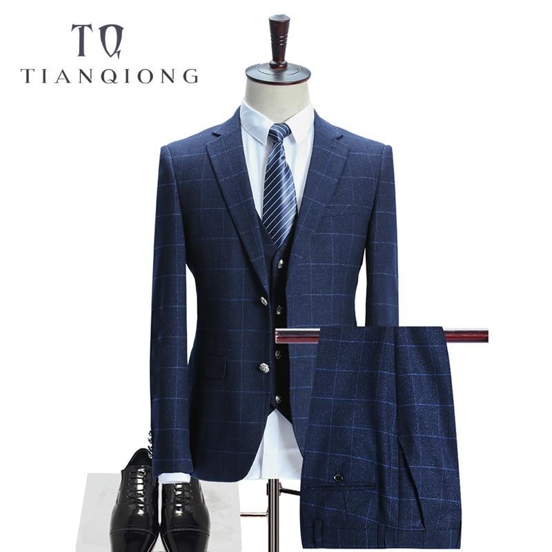 TIAN QIONG férfi kék kockás öltöny 2018 Slim Fit esküvői - Férfi ruházat