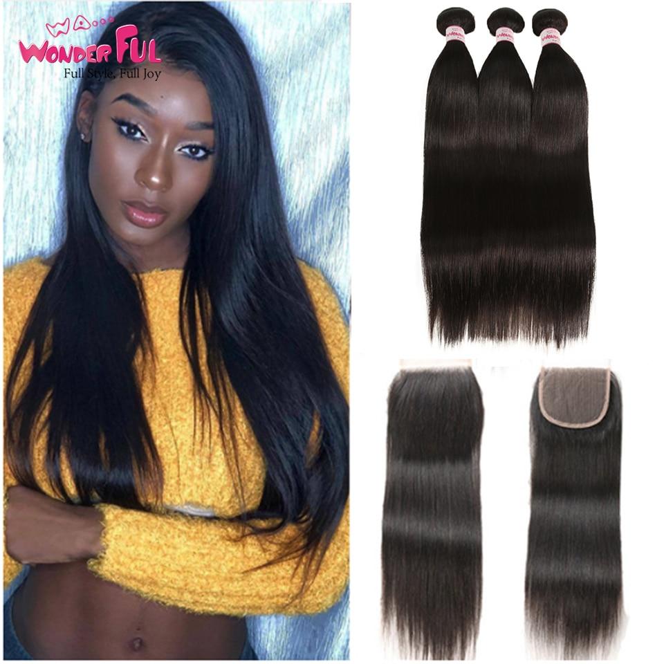 Peruvian Hair Bundles Straight Hair 3 Bundles With Closure Joedir - Skönhet och hälsa - Foto 1