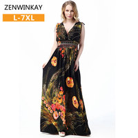 Plus Size Women Summer Loose Dress Ethnic Loose Dress Ethnic Floor Length Dress Sexy Backless Dresses
