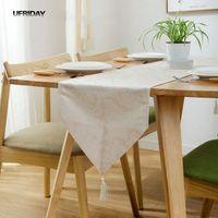 UFRIDAY Luxuy Wasserdicht Tischtuch Blume Tischdecke Party Hochzeit Home Decor Damast Tischläufer Matte Edle Tablerunner Quaste