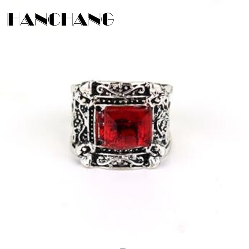 Magic Movie Jewelry The Mortal Instruments The City of Bones Rings Red Square Crystal retro Ring for men women