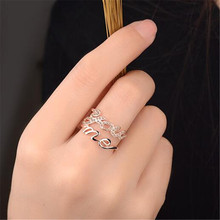 Rings For Women Vintage Multilayer Hollow You Me Wedding Rings Jewelry Rose Gold Sliver Color Cubic Zirconia Stone Anillos Mujer