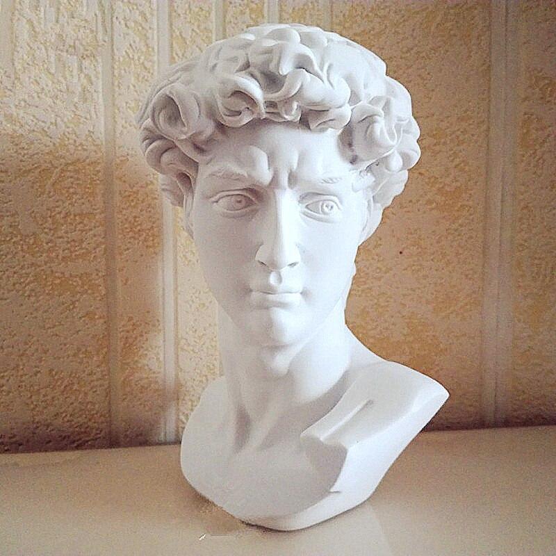 Retratos de la cabeza de David busto Mini estatua de yeso Michael Angel Buonarroti decoración del hogar resina arte y práctica de bocetos artesanales