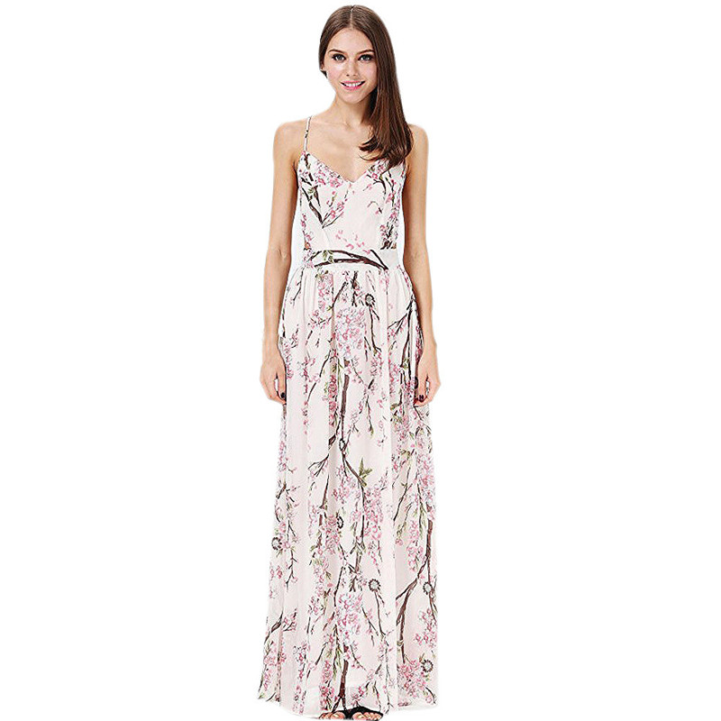 snowshine YLI Womens Floral Sleeveless Backless Chiffon Maxi Beach Dress free shipping