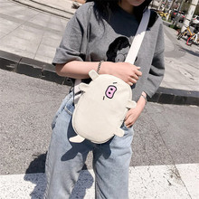 2019 New Women Cute Cartoon Canvas Chest Bag Pack Harajuku Pig Embroidery Crossbody Shoulder for Girls Children