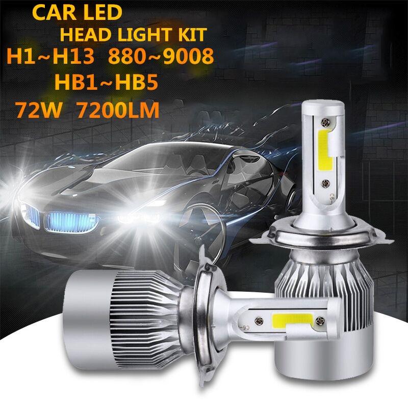 1pair H8 H11 H7 H4 Led 72W 3600LM COB Chip C6 Led 12v 24v Auto Motor Light Headlamp H4 High Low Beam Car Headlight Lamp Bulb