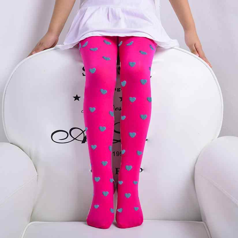 Baby Tights Child Girls Footed Heart Dots Tights Stockings Ballet Candy Colors Opaque Stock 15