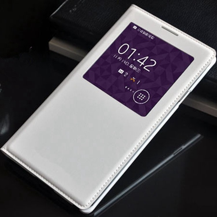Smart Touch View Sleep Wake Up Fungsi Dengan Chip Kulit Asli Kasus Flip Cover Untuk Samsung Galaxy Note 3 Note3 N9000 N9005
