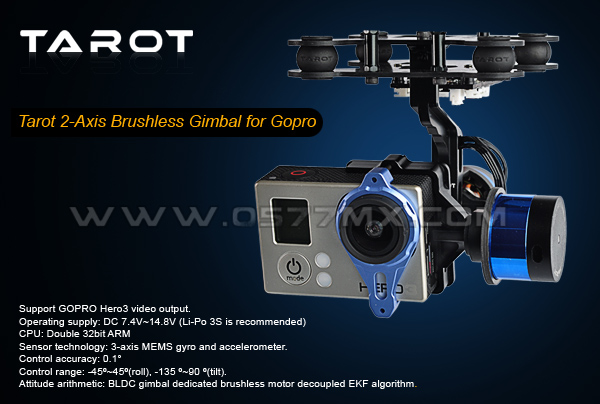 Ormino Tarot 2 axis BGC Brushless Gimbal 2 Axis T 2D for Gopro Hero3 Fpv Camera Quadcopter RC Drone Mount Gimbal 2 Axis