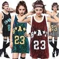 Лето Женщины Хип-Хоп Майка 2016 Мода Корейский Стиль Блестками Случайные Свободные Рукавов Футболки Длинная Tee Топы