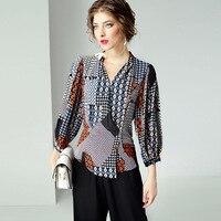 Модная рубашка новая летняя женская одежда 2009 v образный вырез с длинными рукавами шелк сломанный цветок цвет Блузка женская R11188