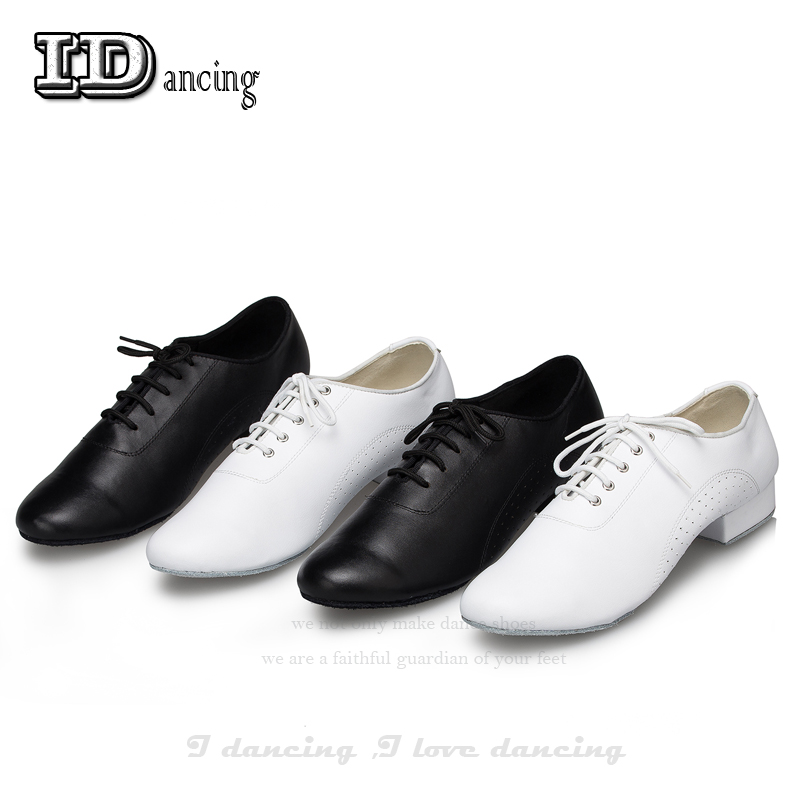 Men's Latin Dance Shoes Genuine Leather Ballroom Dancing Shoes New Arrival  Low Heel 2.5cm Big Size Party Square Shoes JuseDanc
