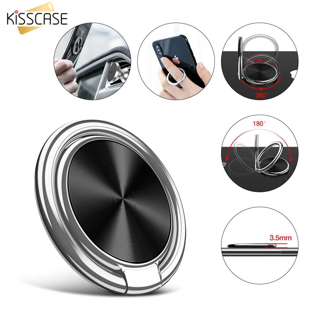 KISSCASE Metal Mobile Phone Finger Holders For iPhone X Xs Max Samsung S9 S8 Phone Holder Stander For Magnetic Car Phone Holders