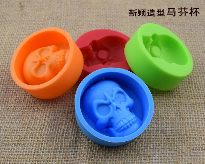 3D Skull Head Silicone Mold Home Party Fondant Cake Chocolate Silicone Mold Cake Tools