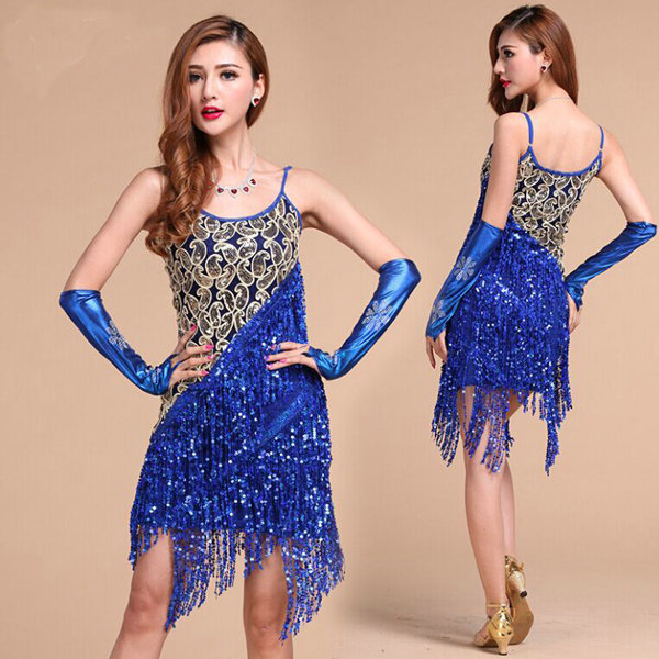 Retails!!! free shipping 4colors Latin Salsa Tango Cha cha Ballroom Competition Sequined Tassels Dance Dress