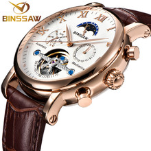 цена BINSSAW 2018 New Men Fashion Leather Automatic Mechanical Tourbillon Watch Calendar Moon Phase Sports Watches Relogio Masculino онлайн в 2017 году