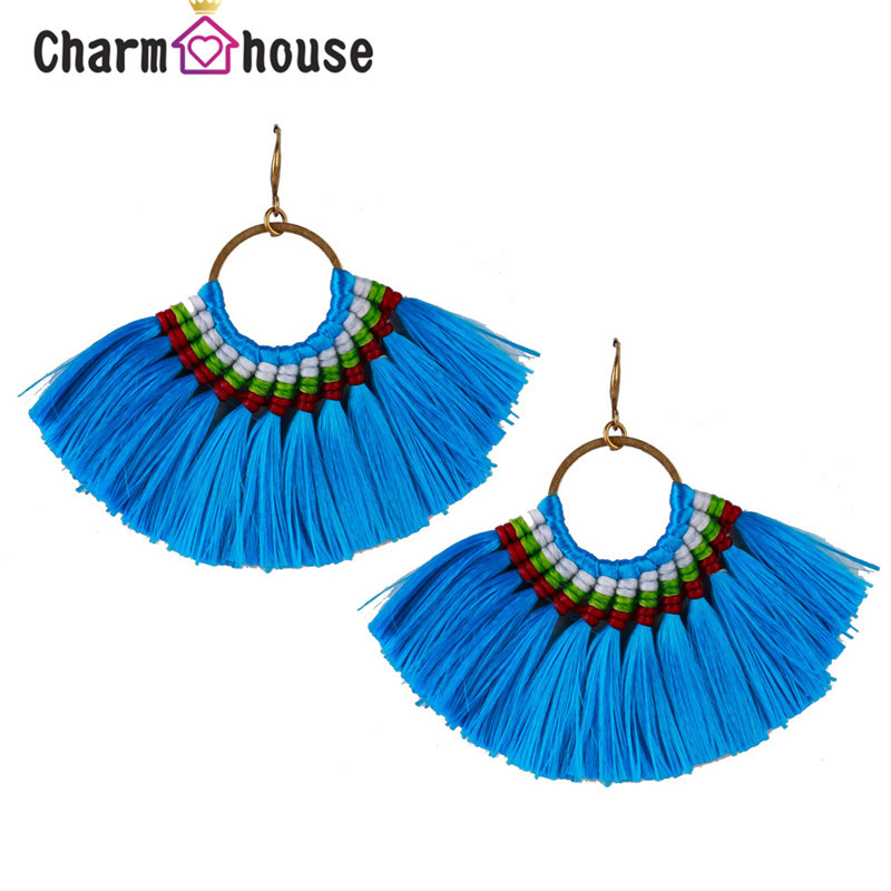 Bright Color Fan Tassel Earrings for Women Costume African Big Long Ethnic Fringed Earring Handmade Halloween Jewelery Gifts