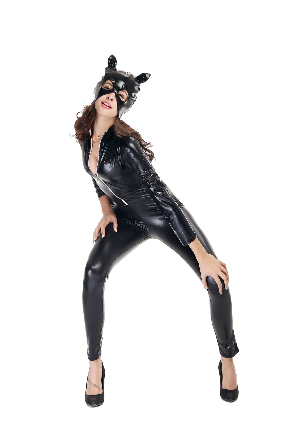 Buy Woman Animal Fuax Leather Catsuit 2017 New Arrival Sexy Gothic Punk Fetish Black Latex Catsuit Faux Leather Costume PU Jumpsuit