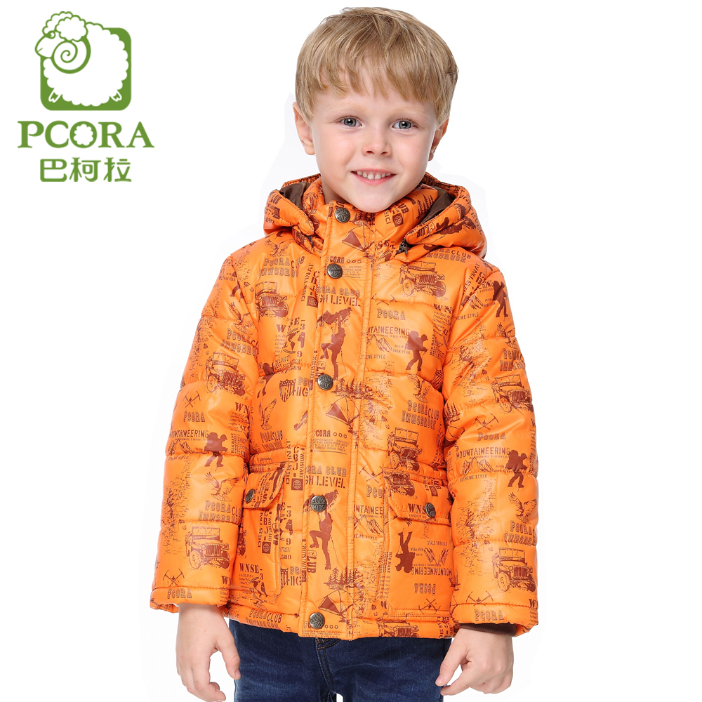 PCORA Boys Overcoat Winter Detachable Cap Cotton Padded Jacket Keep Warm Orange for 3T 10T Children