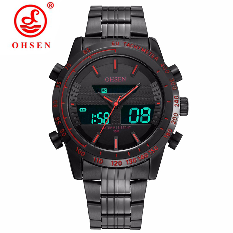 OHSEN Luxury Brand Men Military Watch Waterproof 3ATM Quartz Movement Sports Wristwatches LED Mens Clock NEW Relogio Masculino