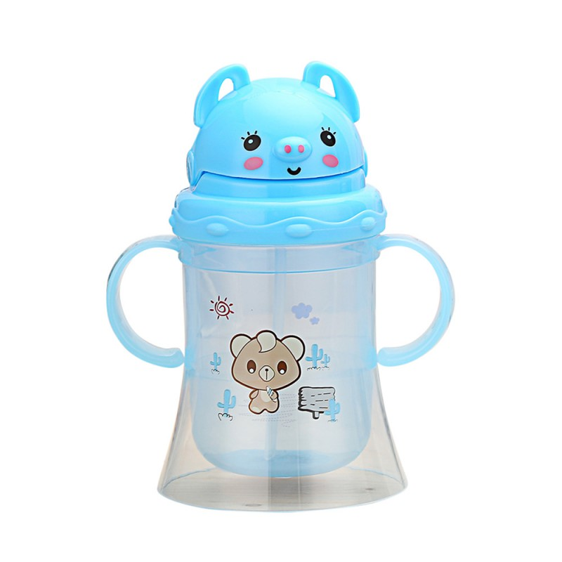 300ml Cute Baby Cup Drinking Water Kids Learn Feeding Bottle Straw Handle Bottle Sippy Training Cup Baby Food Cup