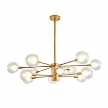 BOKT Modern Minimalist Living Room Chandelier Glass Water Molecule Lamp Golden Dining Bedroom Study Ceiling