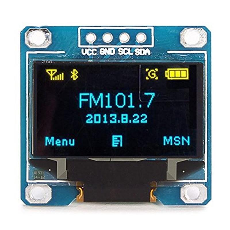 WeiKdez Yellow, blue double color 128X64 OLED LCD LED Display Module 0.96 I2C IIC Communicate