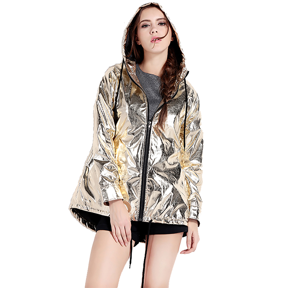 Style Slant Casual Pockets Outwear Zipper Jacket Women Fashion Golden Bomber Hooded Hemtether 1 Joker Street 5Iw71RqxS