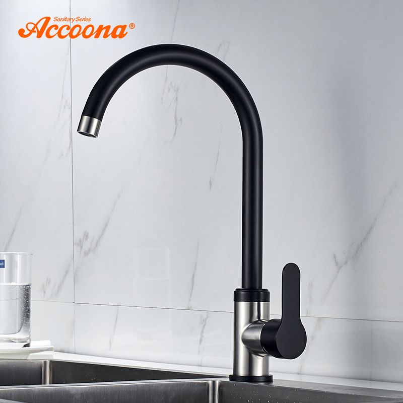 Accoona Kitchen Faucets Stainless steel Tap Mixers Sink Wall Faucet Modern Hot and Cold Water Kitchen Faucets Tap A48107F цена 2017