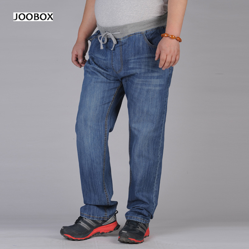 6XL 98% cotton extra large jeans men solid colored elastic high waist jeans man DrawString ...