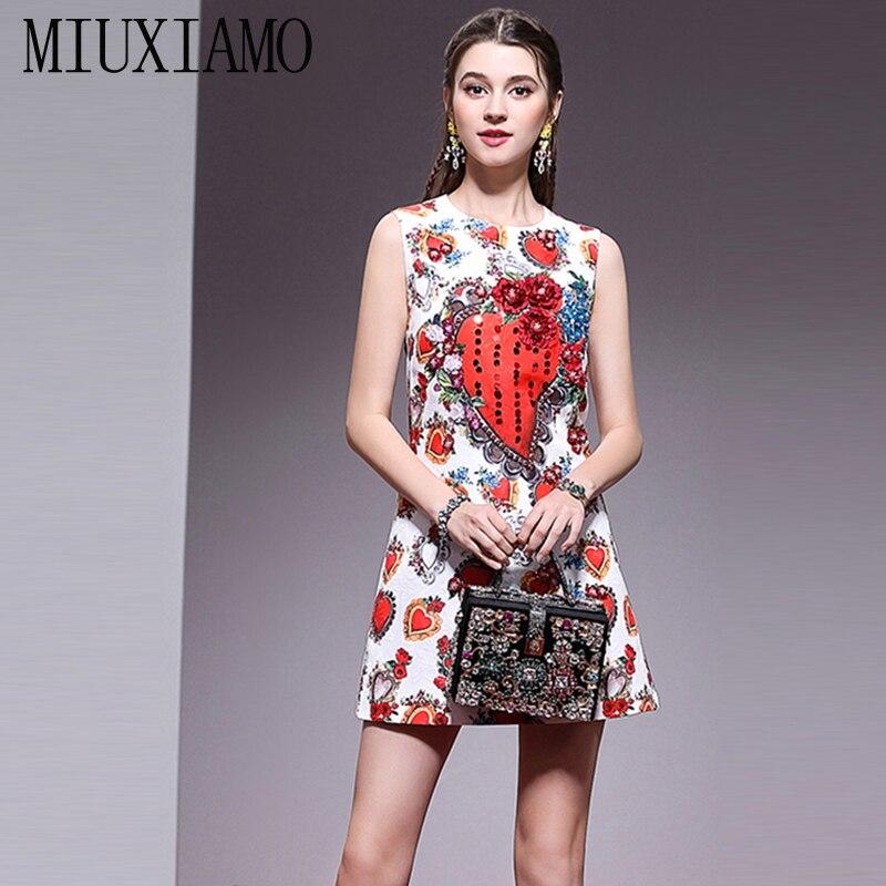 MIUXIMAO haute qualité 2019 été et printemps décontracté a-ligne diamants fleurs coeur impression réservoir tenue décontractée femmes vestido