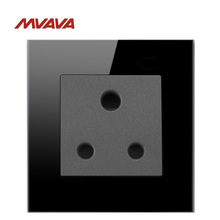 MVAVA 15A Wall Decorative Socket 3 Round Pin Receptacle South Africa Standard Outlet Luxury Black Crystal Plug Free Shipping