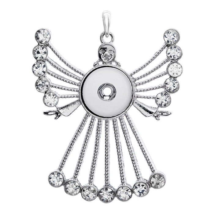 Hot sale Rhinestone angel DIY snap Pendant Necklace fit 18mm snap buttons fashion DIY Fittings for snap jewelry wholesale XL0074