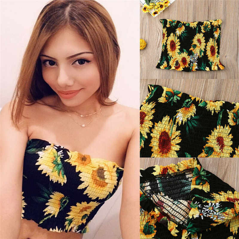 Women Boob Tube Top Sunflower Bustier Sheer Crop Top Wrapped  Vest 2019