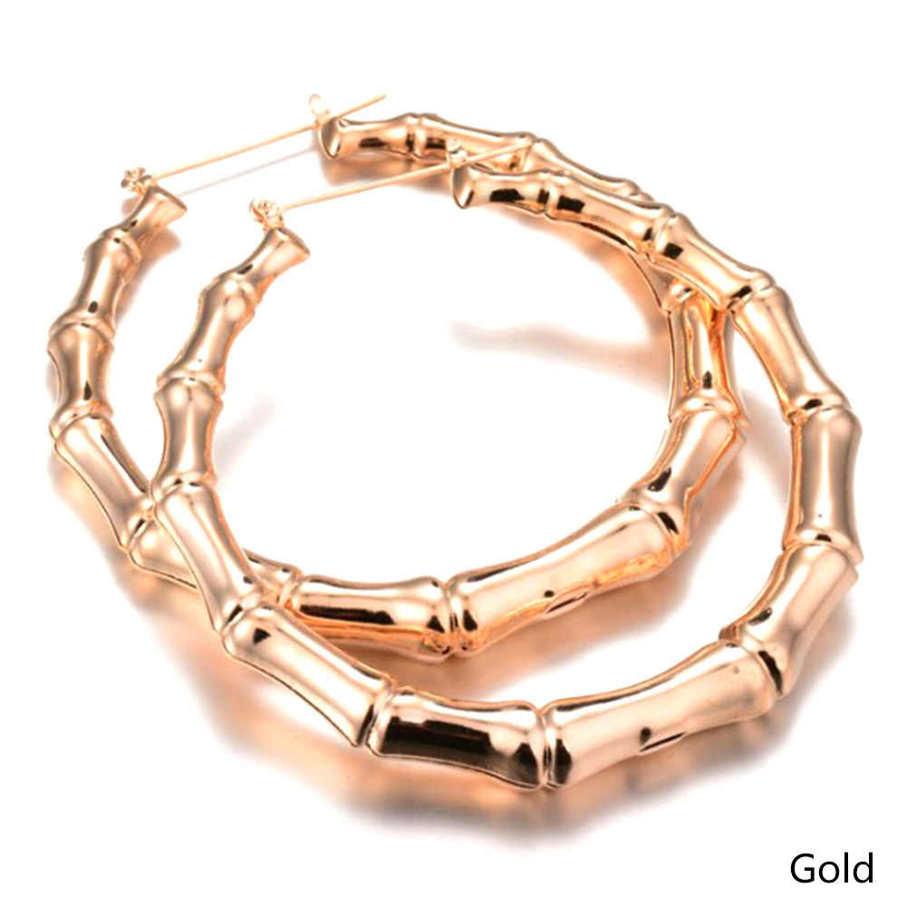1 Pair New Arrival Trendy Bamboo Hoop Earrings Women Female Gold Silver Color Color Classic Jewelry Gifts free shipping