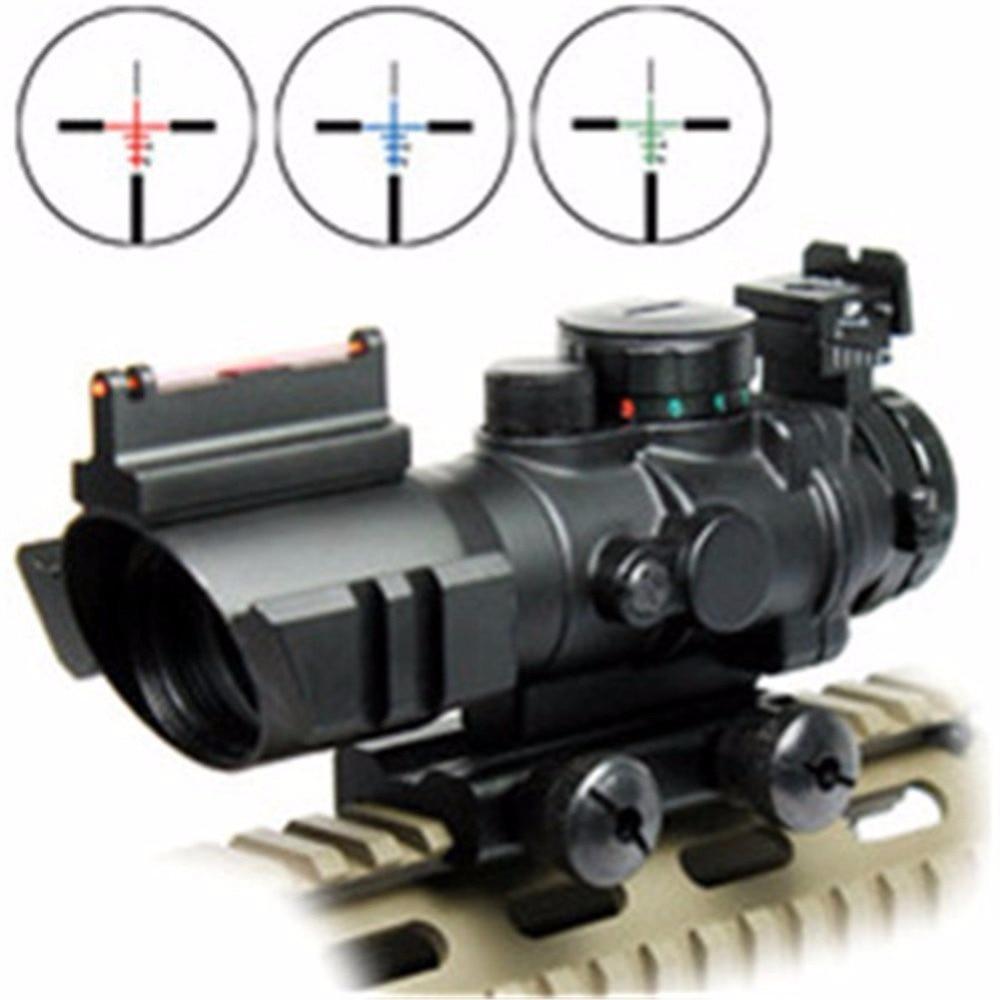 UniqueFire 2017 Hot Sale W/Fiber Optic Sight Riflescope 4x32  Red/ Green/Blue Illuminated Tactical Compact Scope hot sale 1503 led flashlight uniquefire