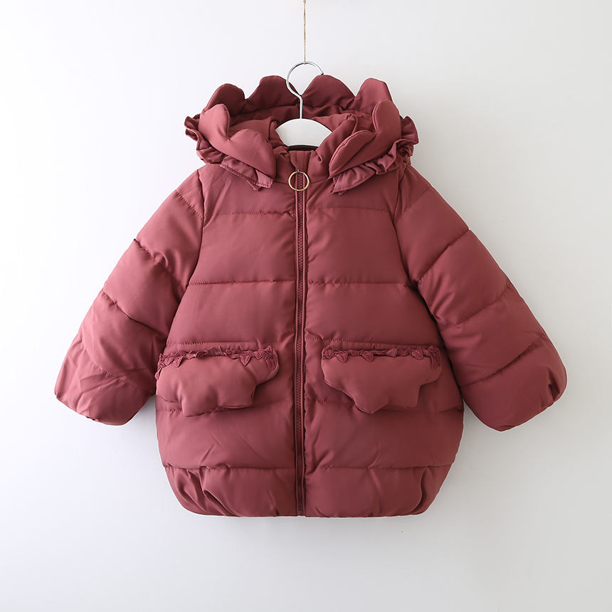 Toddler Girl Fashion Winter Coat Kids Parkas Jacket With Ruffle Hood Wholesale Lots Bulk Clothes Children Girl Warm Jacket 2018 цены