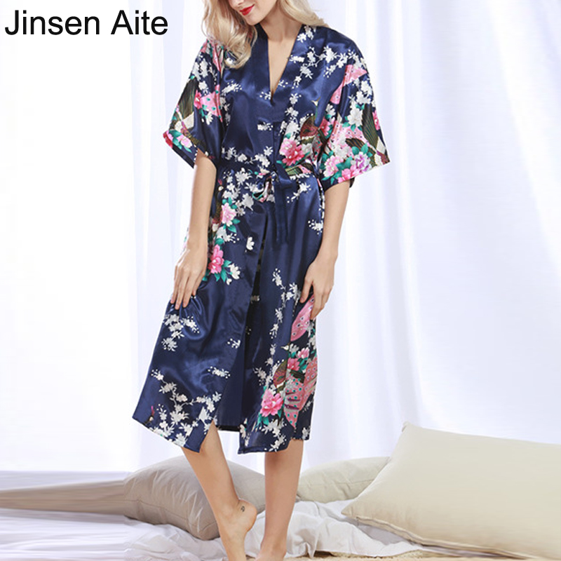 Women Summer Dress 2017 Pijama Women Soft Elegant Silk Floral Loose Plus Size with Sashes Nightgown Sleepwear Nightdress 1073