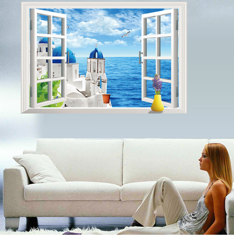 The Best Airbnb Cities For Home Decor Ideas: Romantic Love City Santorini Greece Blue Sea Sky 3d Window