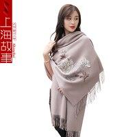 Элегантные женские шали вышивки наивысшего качества пион вышитые шарфы из шерсти для женщин зимние теплые женские шарфы кистями палантин