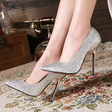 Lady Sexy Hot Sell Super Star Plus Size 34-45 Red Bottoms Bling Pointy Toe Nigh club Party Shoes High Heels Women Pumps Stiletto