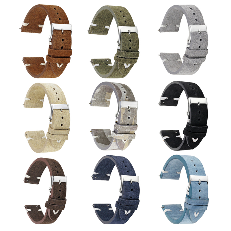 Onthelevel Classical Handmade Suede Leather Watch Strap 18mm 20mm 22mm Watch Accessories Watchband  #DOnthelevel Classical Handmade Suede Leather Watch Strap 18mm 20mm 22mm Watch Accessories Watchband  #D