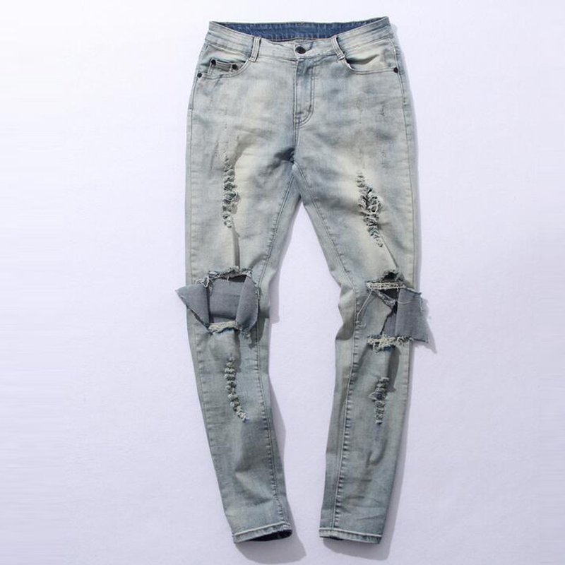 Fashion autumn stretch ripped designer brand jeans hip hop slim fit men broken demin destroy jeans