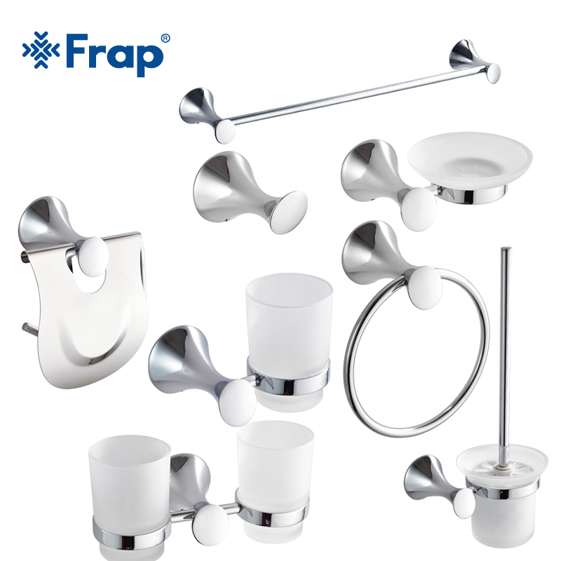 Frap Modern Style Zinc Alloy Bathroom Set Chrome Toothbrush Holder Towel Clothes hook 8  ...