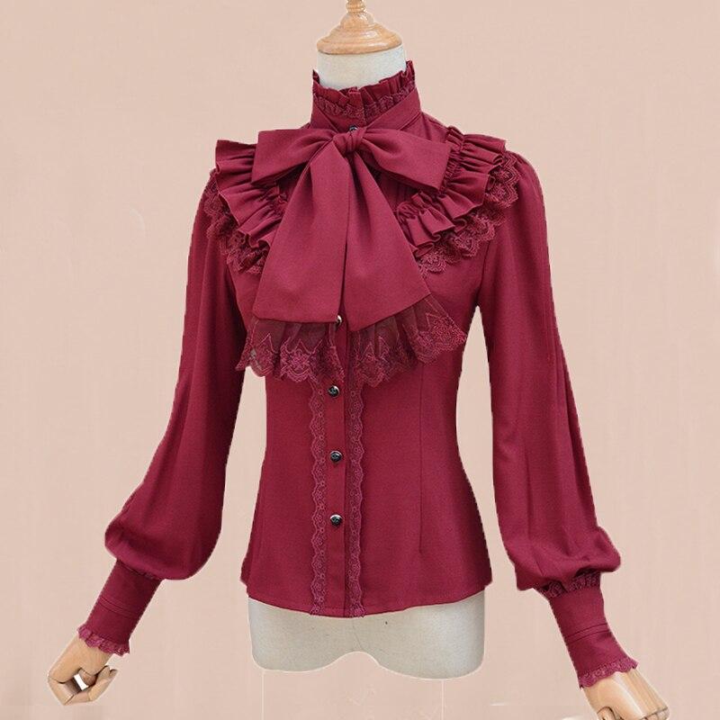 Doux Vintage Lolita Gothique Blanc Rouge Quatre Couleur À Manches Longues En Mousseline de Soie Shirt Femmes Pied de Col Élégant Tops Femme Blouse