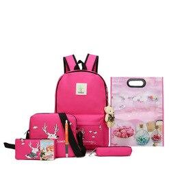 Новинка 2018, школьные рюкзаки большой вместимости для подростков, холщовая одноцветная сумка с рисунком, модные дизайнерские рюкзаки для же...